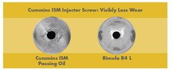 Shell Rimula R4 L asigura vizibil o uzura scazuta a suruburilor de prindere a injectorului in comparatie cu uleiurile rivale